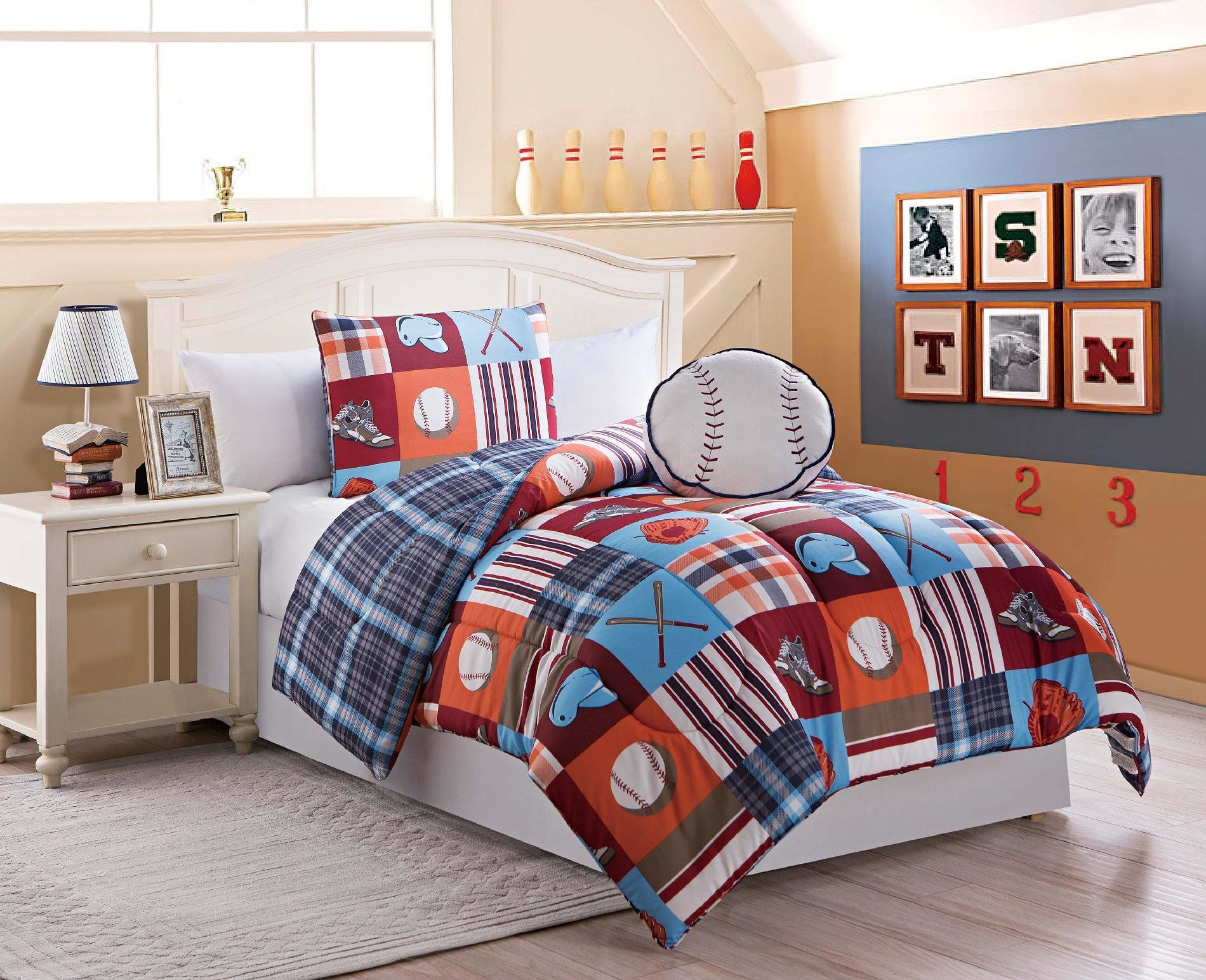 Best Boys Twin Size 3 Pc Reversible Baseball Comforter Set With Sham Pillow 416 With Pictures
