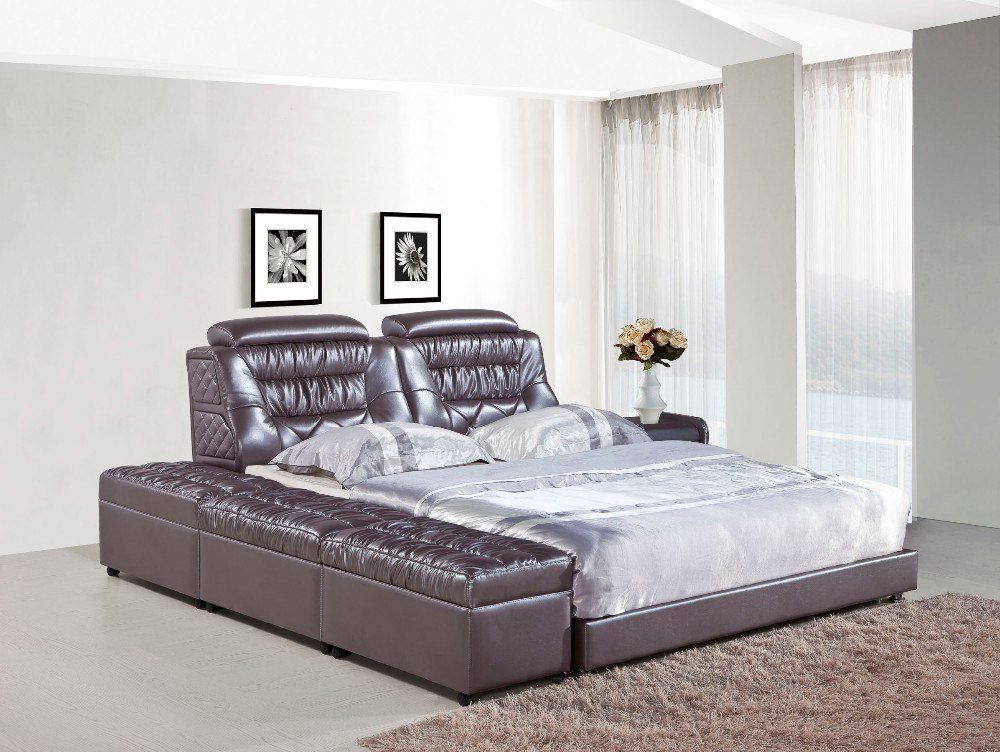 Best Bedroom Furniture Modern Leather Bed H821 Lizz Bed Hot With Pictures
