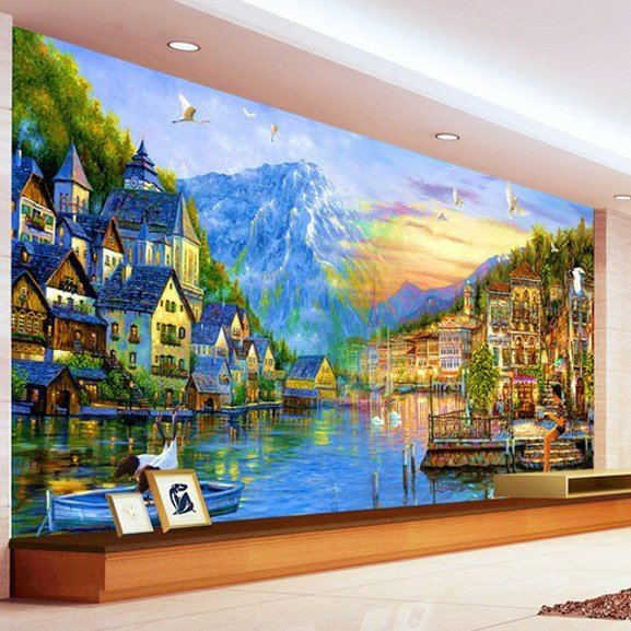 Best Personalized 3D Wallpaper European City Painting Large With Pictures