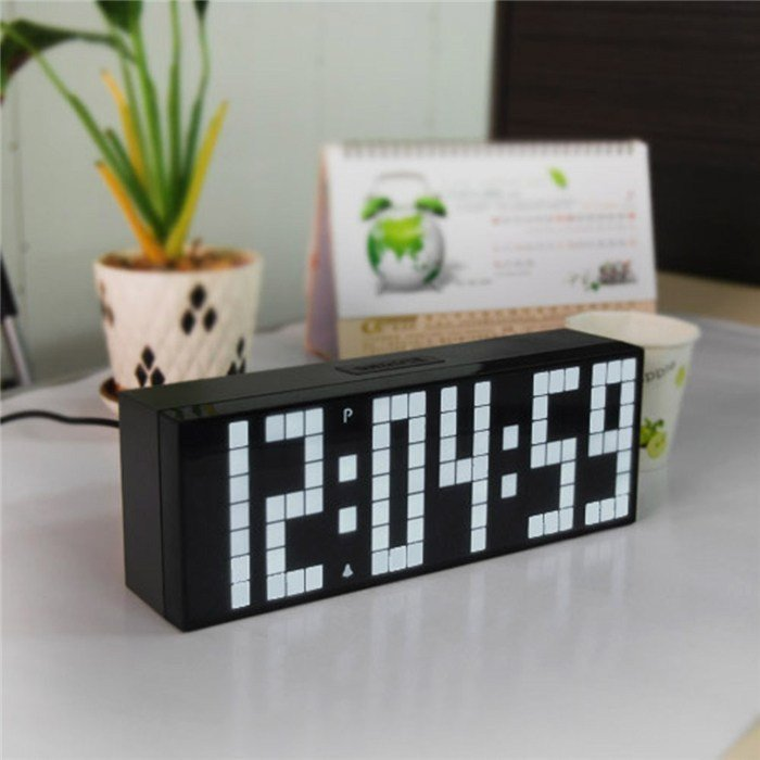 Best Ch Kosda Big Number Led Digital Clock Silent Wall Bedroom With Pictures
