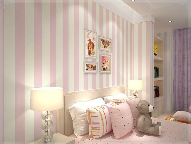 Best Cozy Bedroom Vinyl Wallpaper Blue White Stripe Wall Paper With Pictures