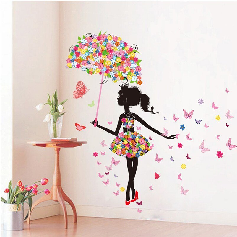 Best Diy Wall Stickers Pvc Large Wall Sticker Pink Girl With Pictures