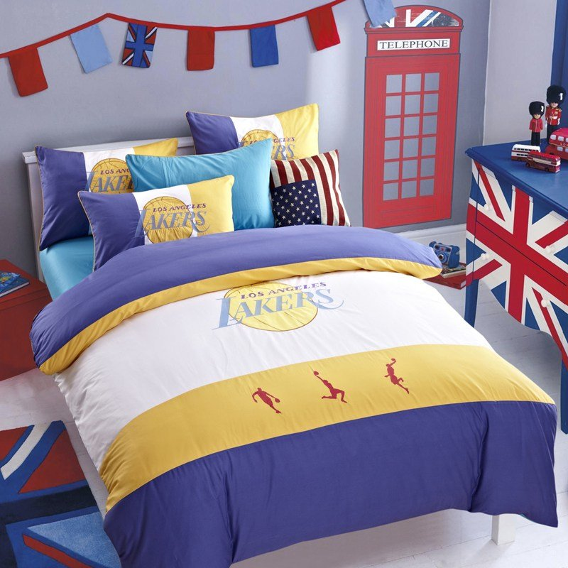 Best Designer Sports Basketball Bedding Set Los Angeles Lakers With Pictures