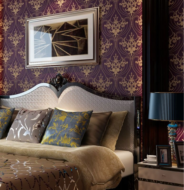 Best Luxury Victorian Vintage Golden Damask On Purple Wallpaper Bedroom Wallpaper Wall Covering In With Pictures