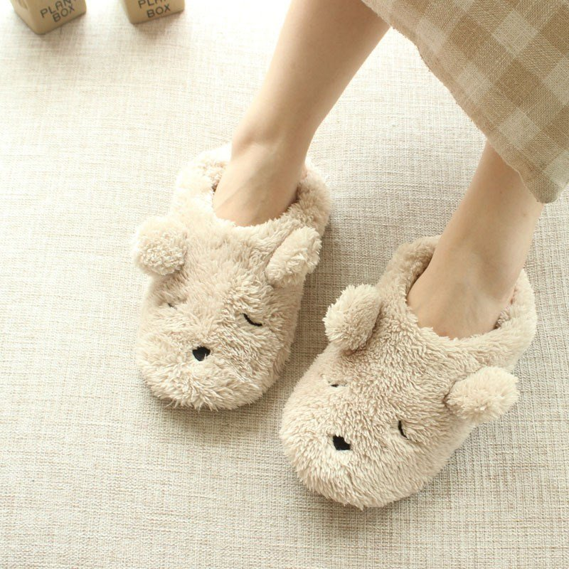 Best Cartoon Plush Bear Autumn And Winter Home Slippers Women Cute Bedroom Animal Slippers In With Pictures
