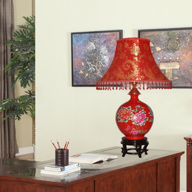 Best Modern Fashion Jingdezhen Ceramic Red Table Lamp Marriage With Pictures