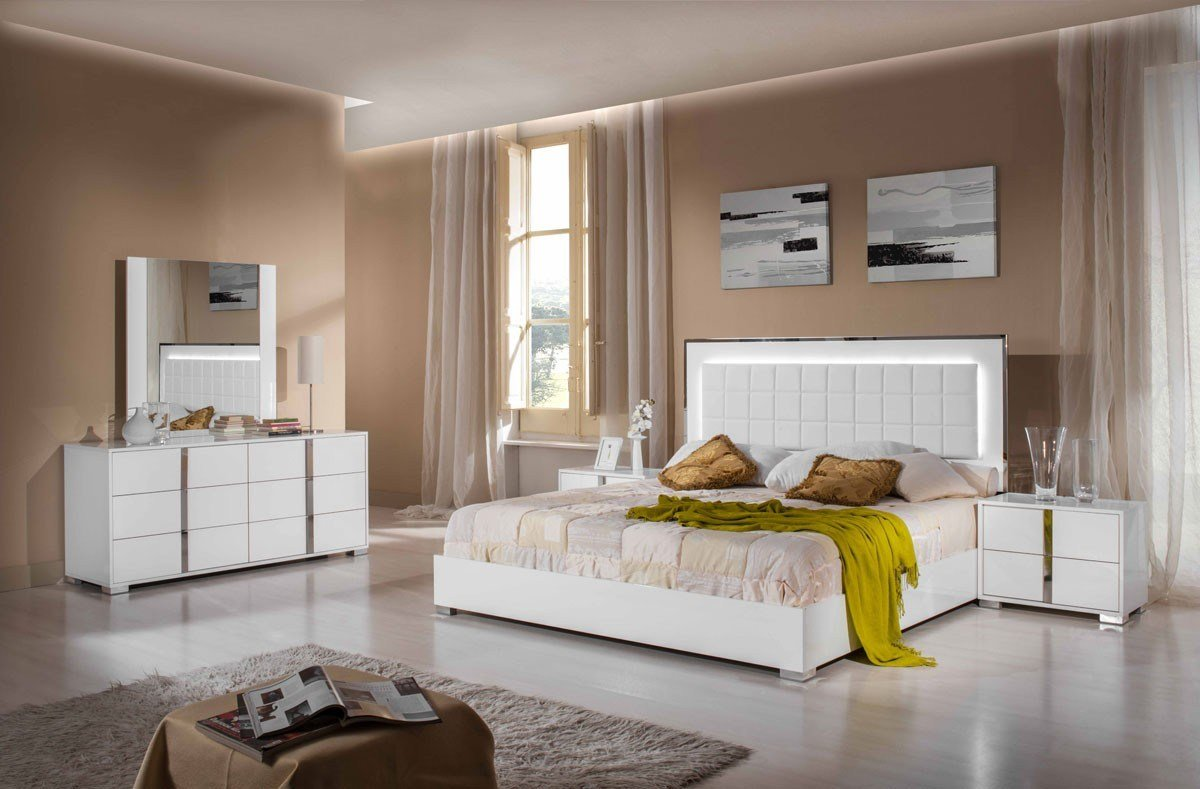 Best Italian 5 Pcs Bedroom Set Glossy White Or Grey Modern With Pictures