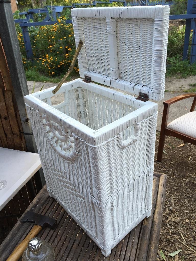Best White Painted Cane Laundry Bedroom Hamper Bin As New The With Pictures