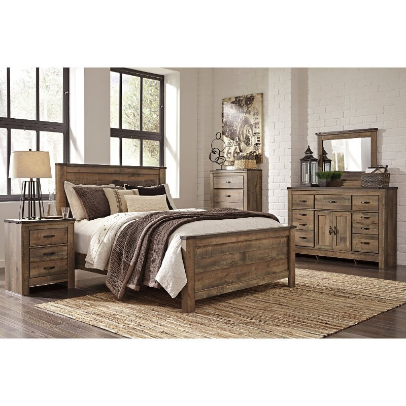 Best Rustic Casual Contemporary 6 Piece King Bedroom Set Trinell Rc Willey Furniture Store With Pictures
