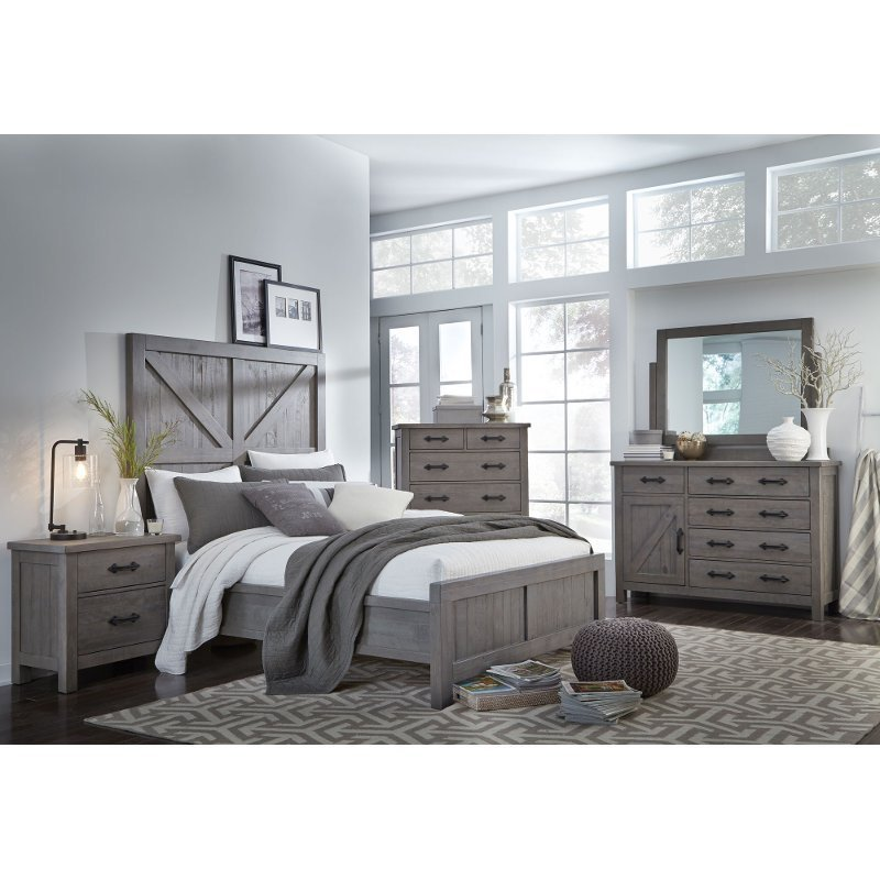 Best Gray Rustic Contemporary 4 Piece King Bedroom Set Austin Rc Willey Furniture Store With Pictures