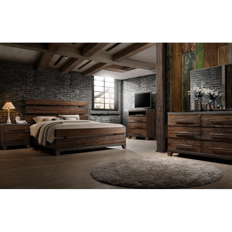 Best Modern Rustic Brown 6 Piece King Bedroom Set Forge Rc With Pictures
