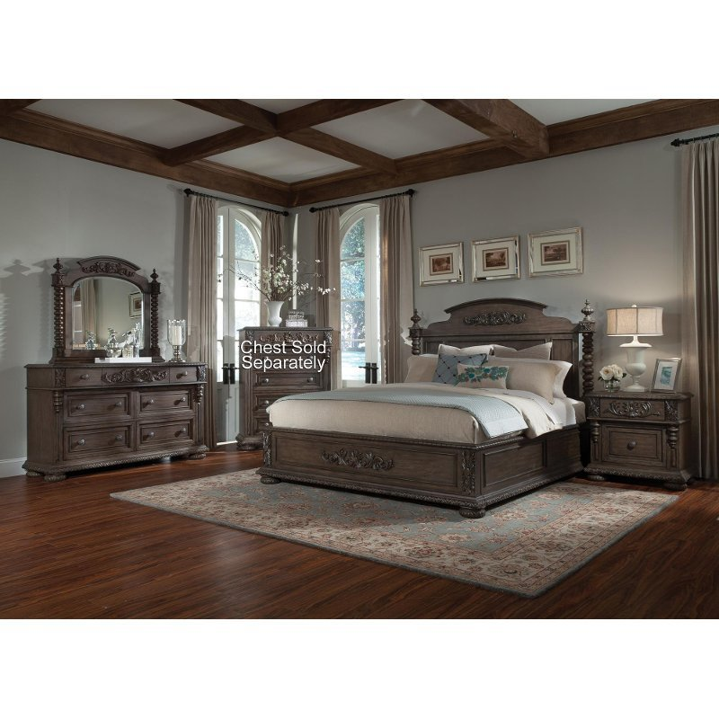 Best Versailles Pewter Brown 6 Piece Cal King Bedroom Set With Pictures