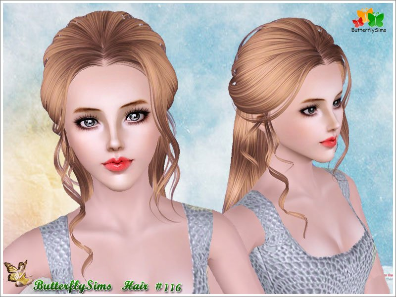 Free Half Up With Curly Stripes Hairstyle By Butterfly Sims Wallpaper