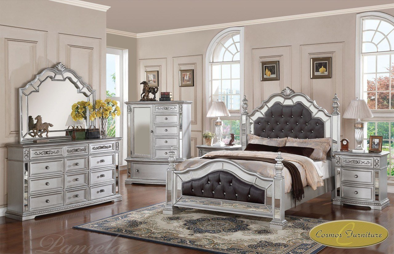 Best 6 Pc Pamela Upholstered Mirrored Queen Bedroom Set Pam F 2497 Na Ebay With Pictures