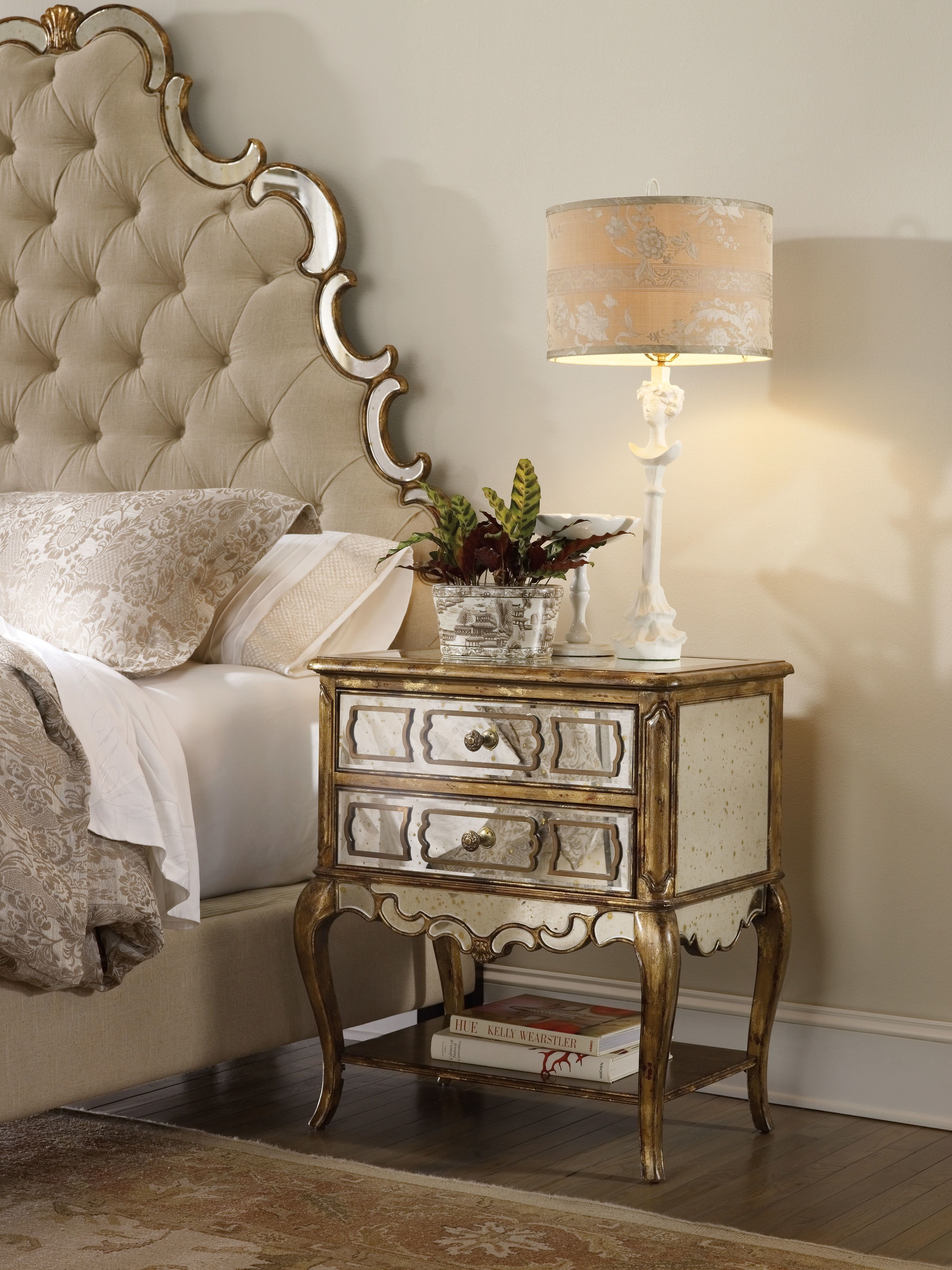 Best H**K*R Furniture Bedroom Sanctuary Mirrored Leg Nightstand With Pictures