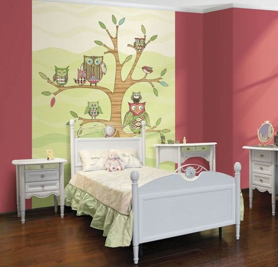 Best Pink Owl Pre Pasted Mural With Pictures