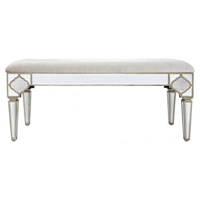 Best Mackenzie Mirrored Antique Trim Bedroom Bench Cimc With Pictures