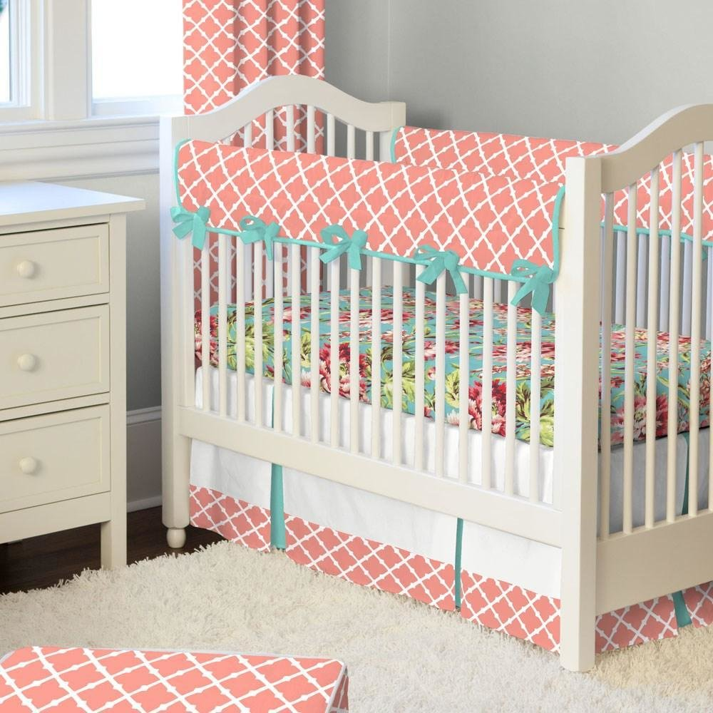 Best Light Coral And Teal Lattice Crib Bedding Carousel Designs With Pictures