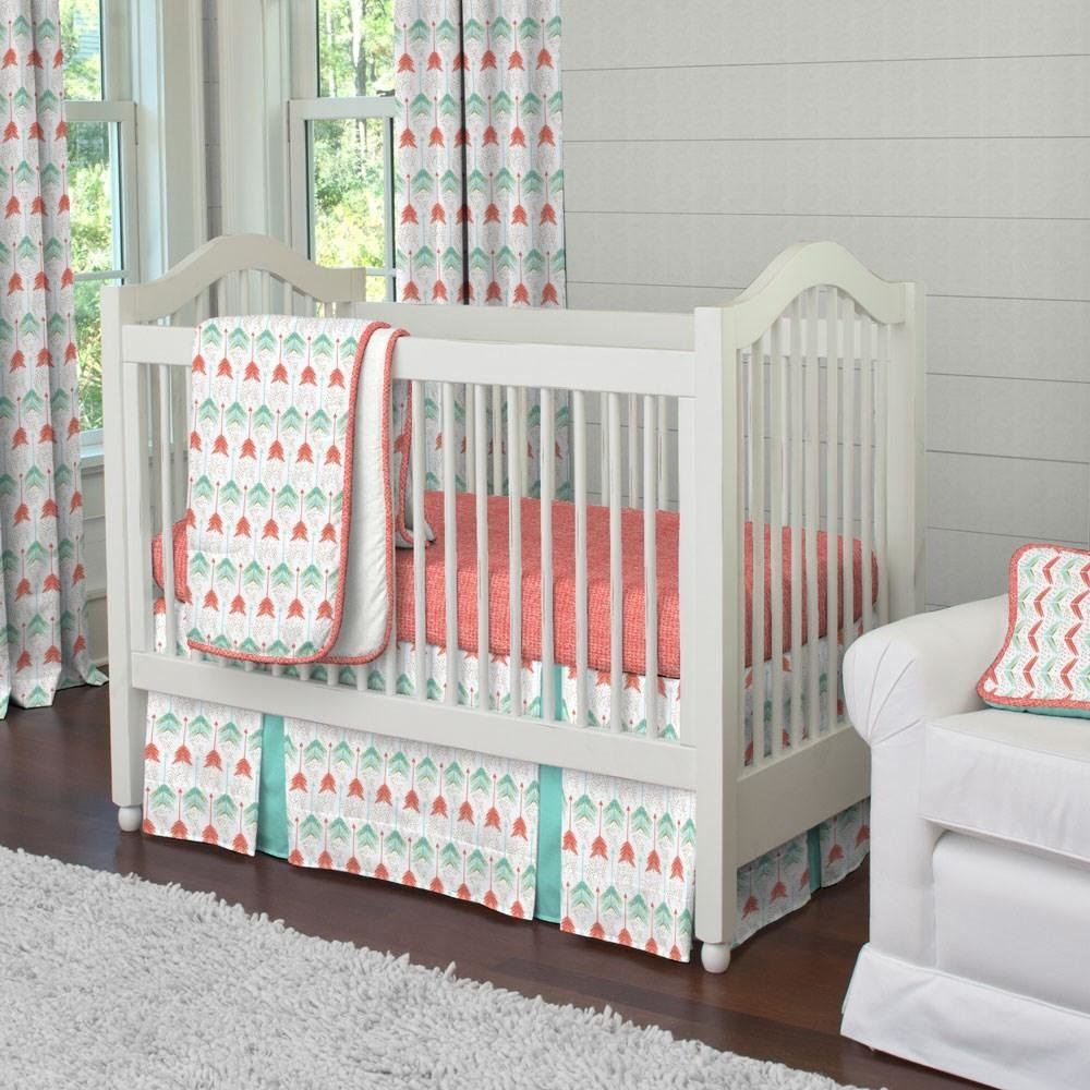 Best Coral And Teal Arrow Crib Comforter Carousel Designs With Pictures
