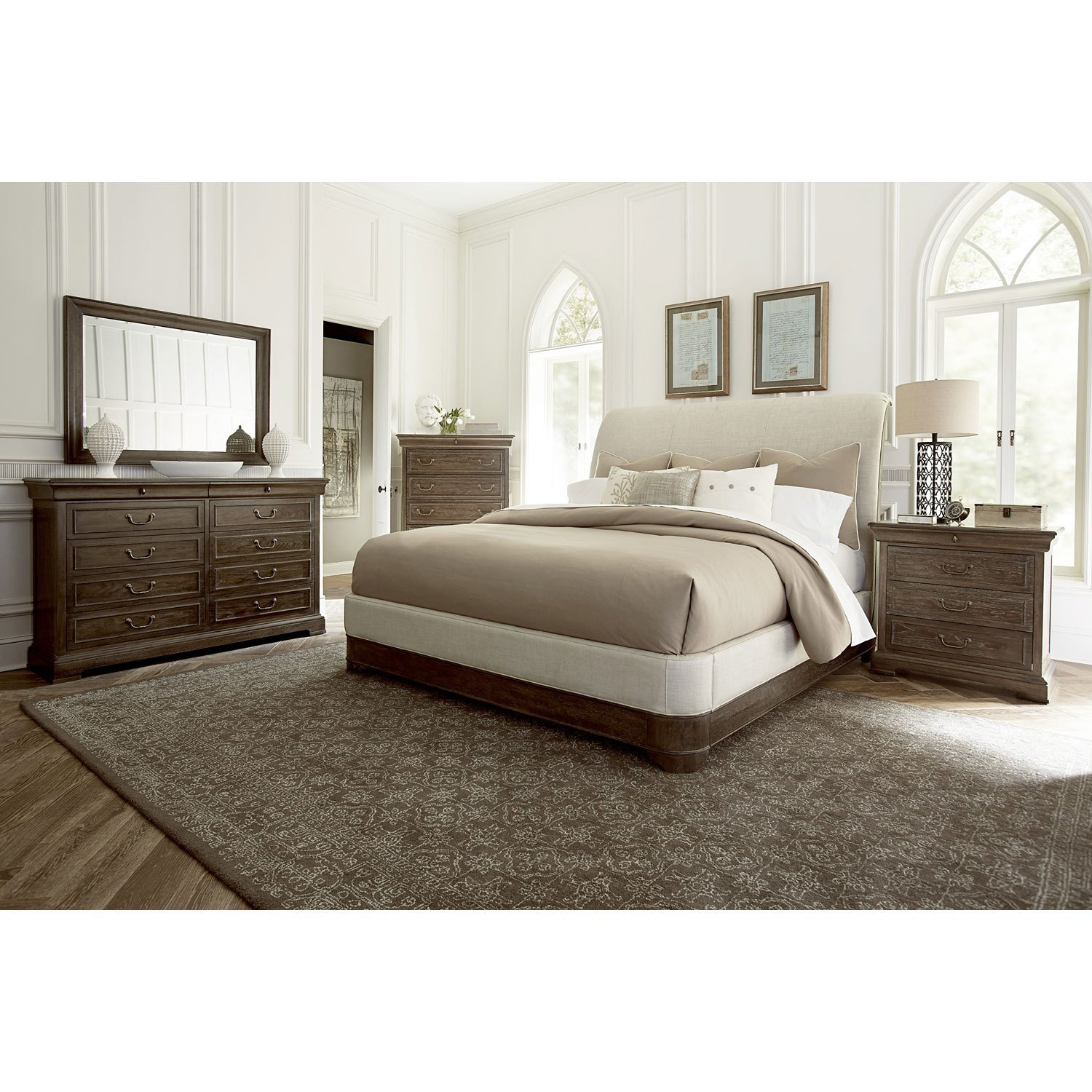 Best St Germain Eastern King Upholstered Platform Sleigh Bed A With Pictures