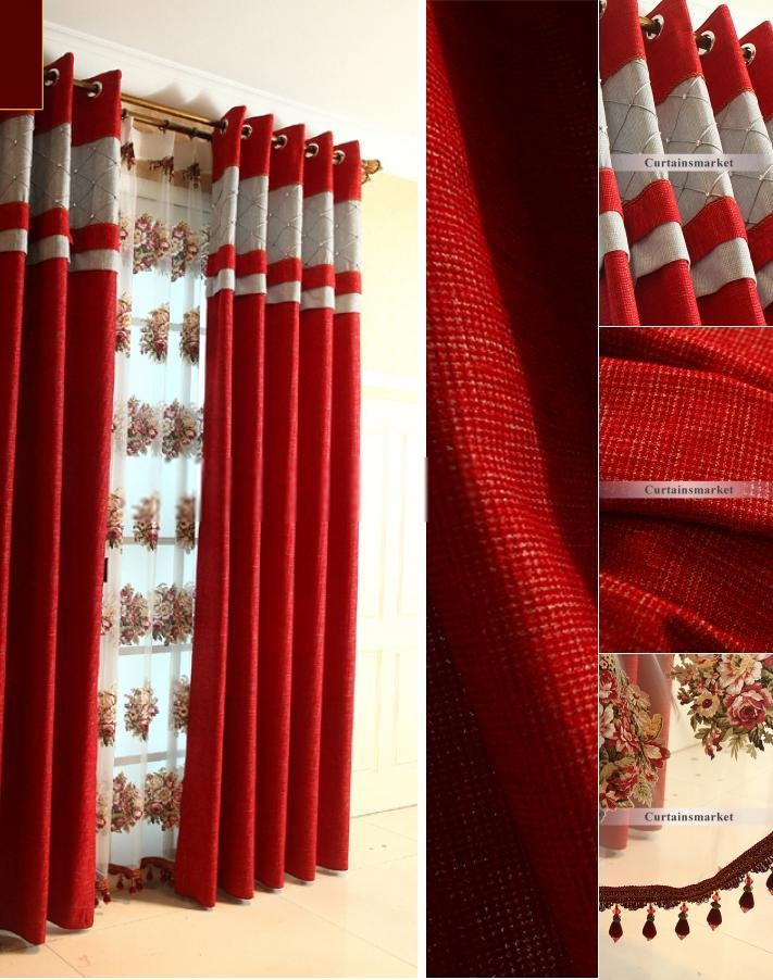 Best Chenille Fabric Bedroom Curtains And Drapes Of Bright Red With Pictures