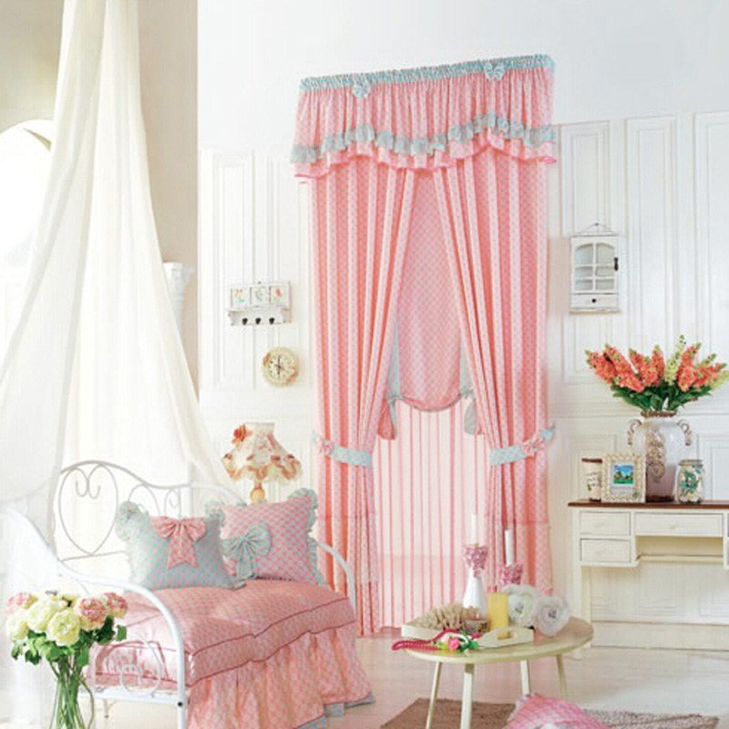 Best Luscious Pink Polyester Plaid Kids Curtain For Girls Room With Pictures