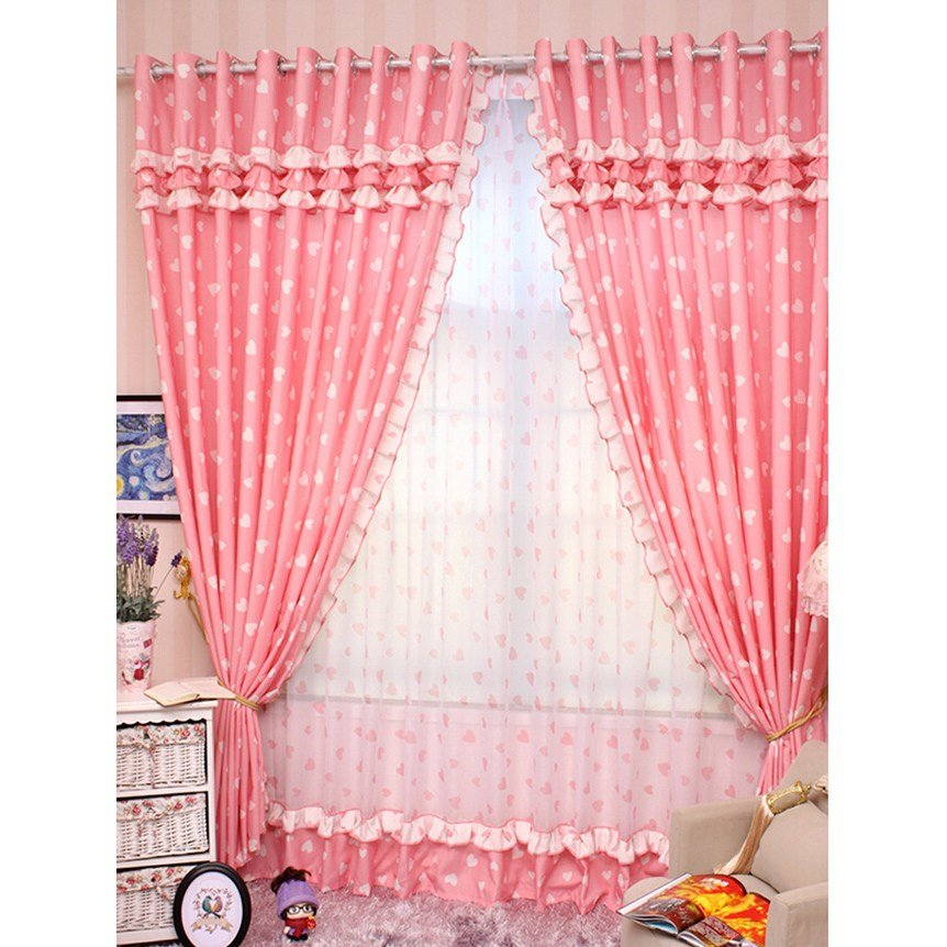 Best Romantic Pink Curtains With Sweetheart Pattern Princess With Pictures