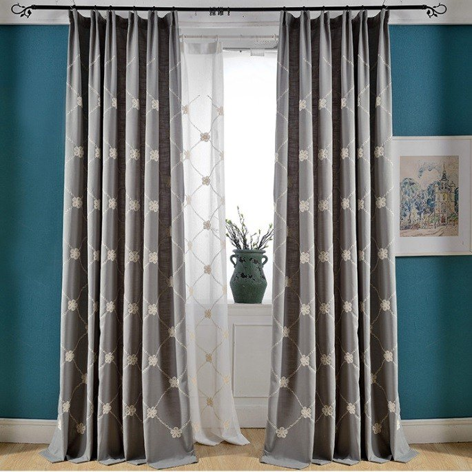 Best Gray Floral Embroidery Linen Cotton Blend Country Curtains For Bedroom Or Living Room On Sale With Pictures