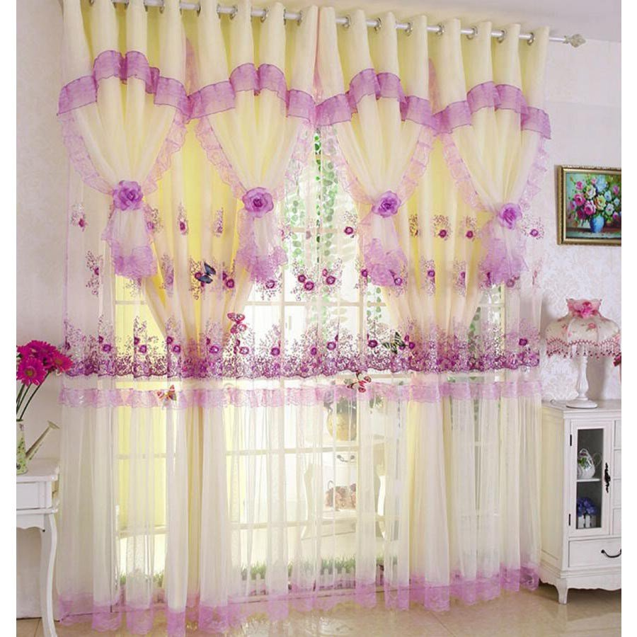 Best Romantic Purple Floral Princess Polyester Window Curtains With Pictures