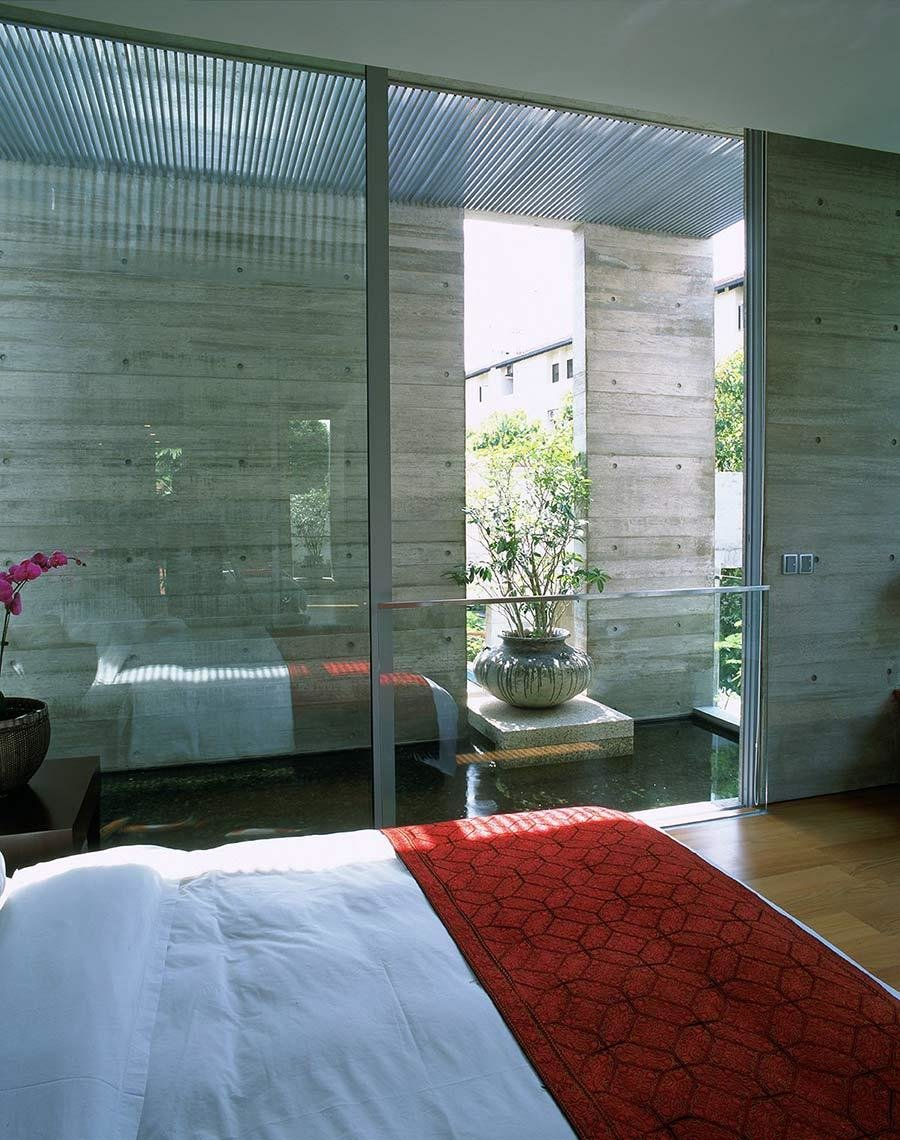 Best Bedroom Glass Walls Water Feature Sunset Vale House With Pictures