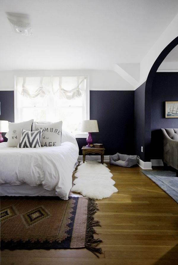 Best Royal Blue Painted Bed Room Navy Blue Accent Wall In With Pictures