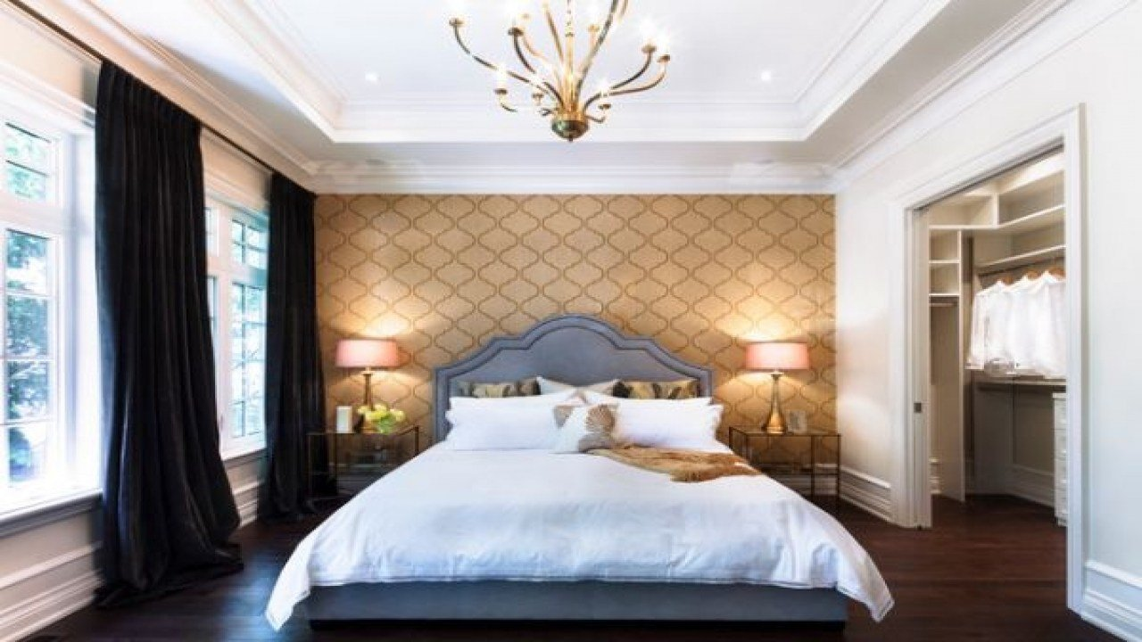 Best Master Bedroom Wallpaper Ideas Bedroom Accent Wall P Gold With Pictures