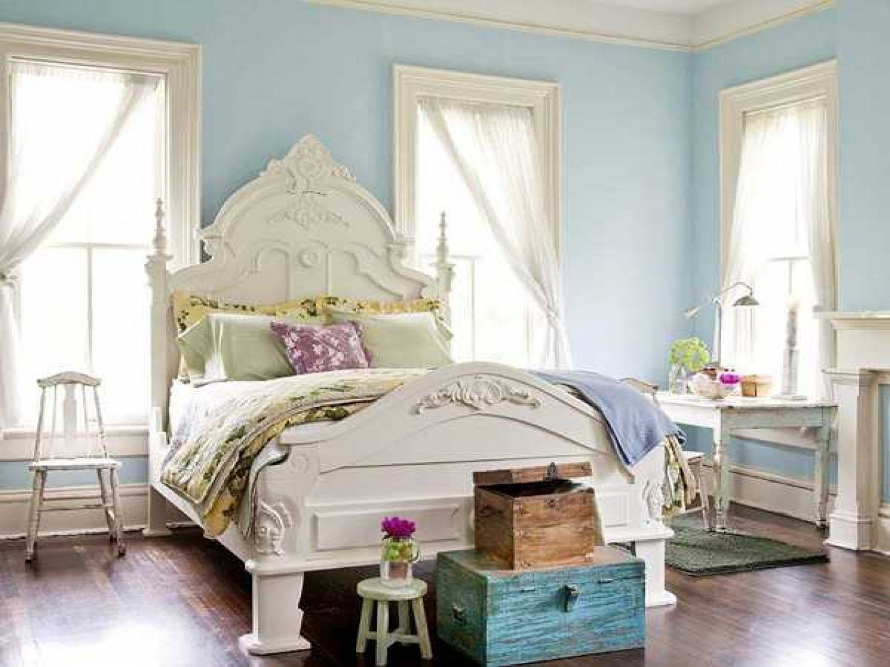 Best Blue Bedroom Designs Ideas Light Blue Paint Walls With With Pictures