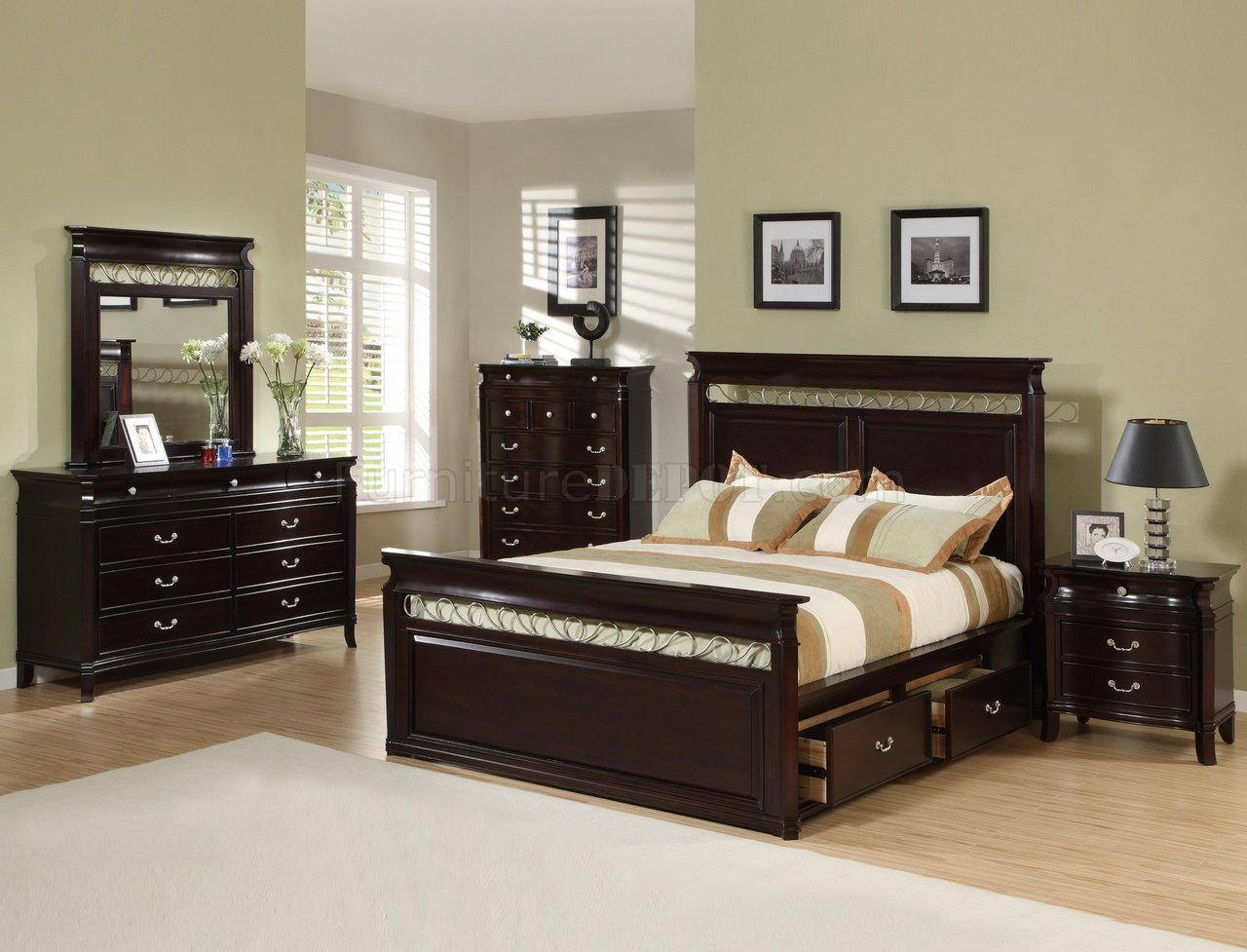 Best Dark Espresso Finish Contemporary Bedroom W Storage Bed With Pictures