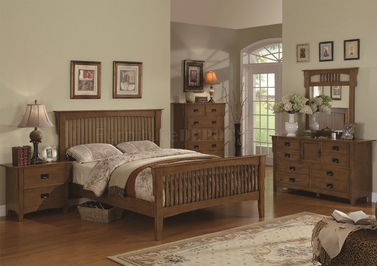 Best Mission Style Medium Oak Finish Bedroom W Optional Items With Pictures