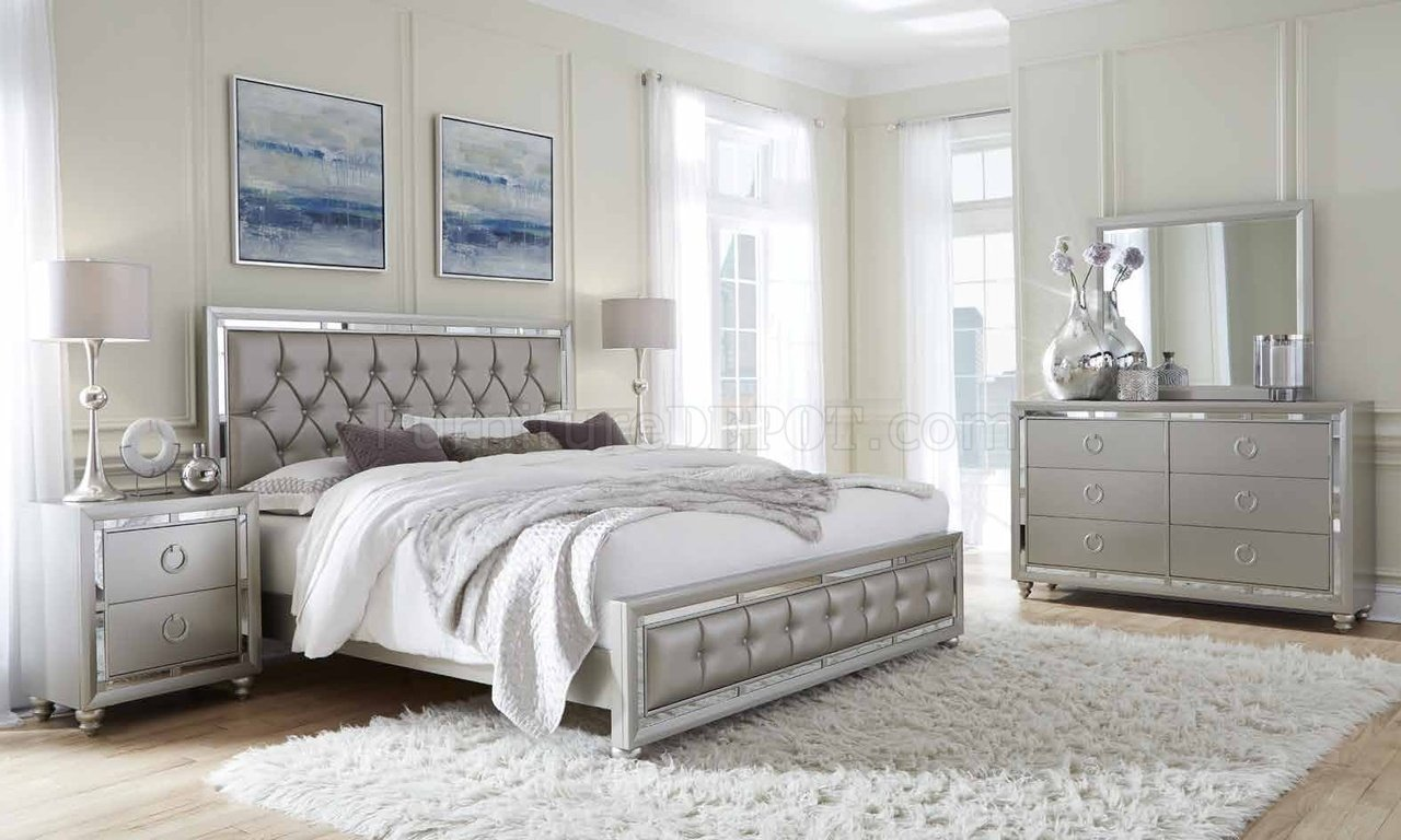 Best Riley Bedroom 5Pc Set In Silver Finish By Global With Pictures