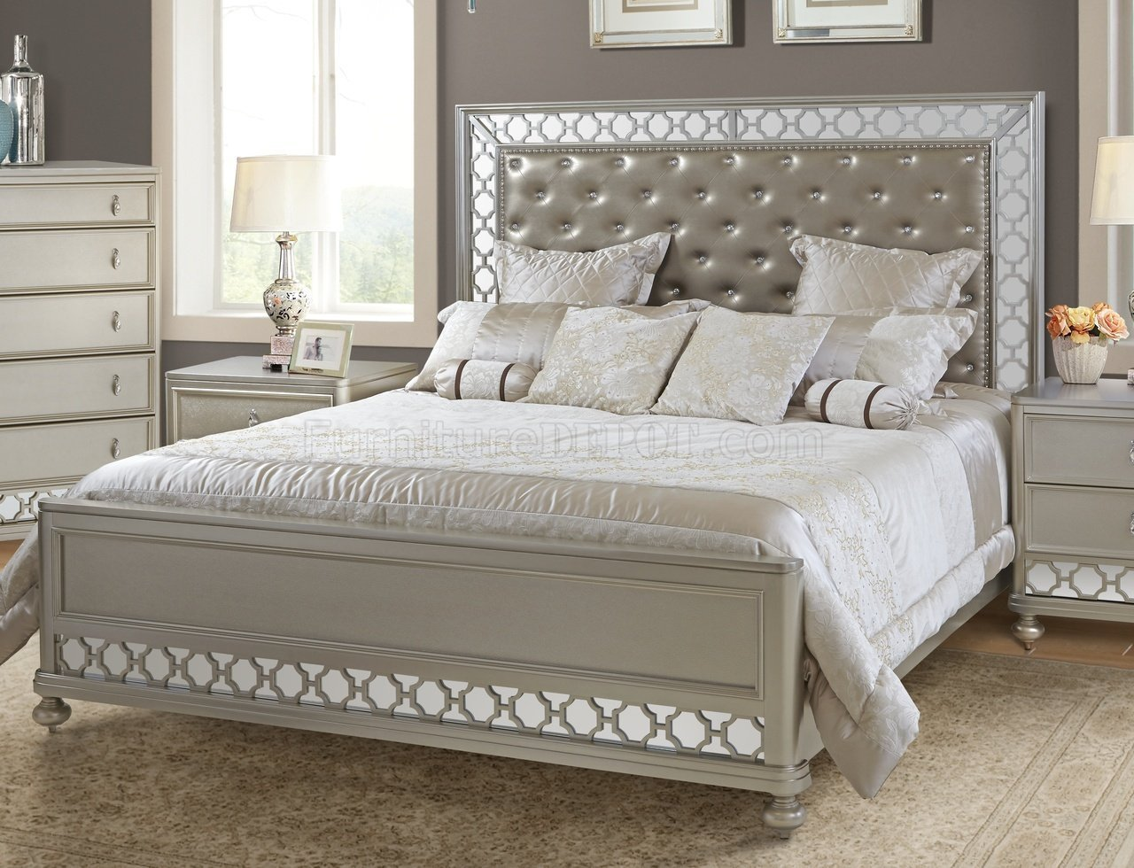 Best Claire Bedroom Set W Crystal Tufted Headboard W Options With Pictures