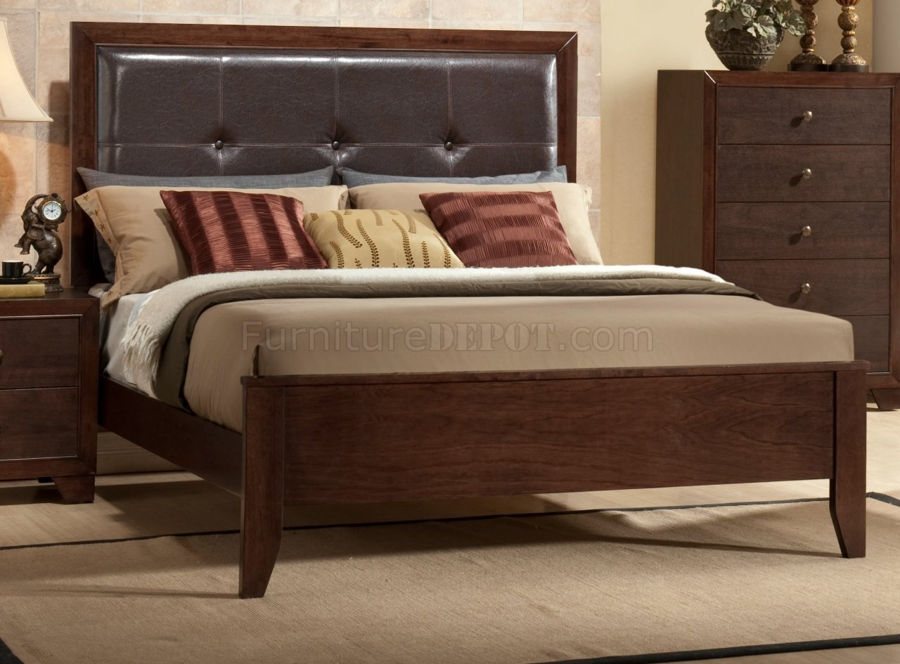 Best B201 Bedroom Set In Brown Cherry W Faux Marble Top Casegoods With Pictures