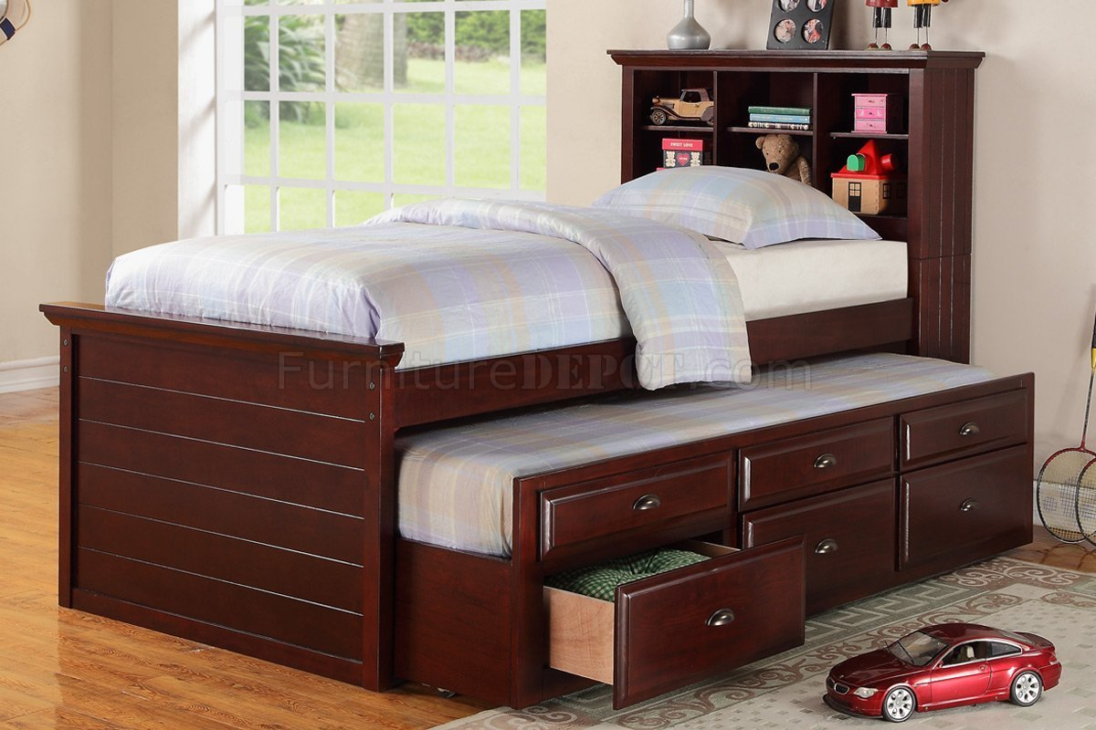 Best F9220 Kids Bedroom 3Pc Set By Poundex In Cherry W Trundle Bed With Pictures