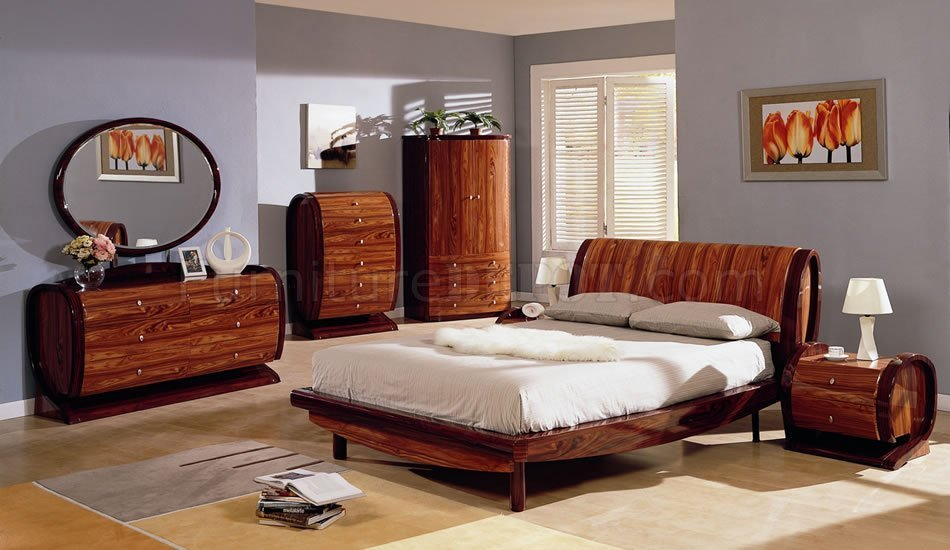 Best Two Tone Cherry Color High Gloss Finish Contemporary Bedroom With Pictures