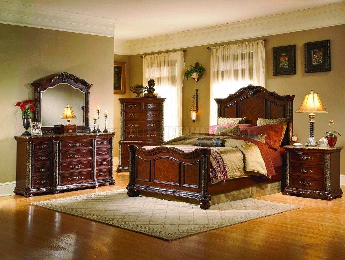 Best White Wash Finish Classic 5Pc Bedroom Set W Marble Tops Posts With Pictures