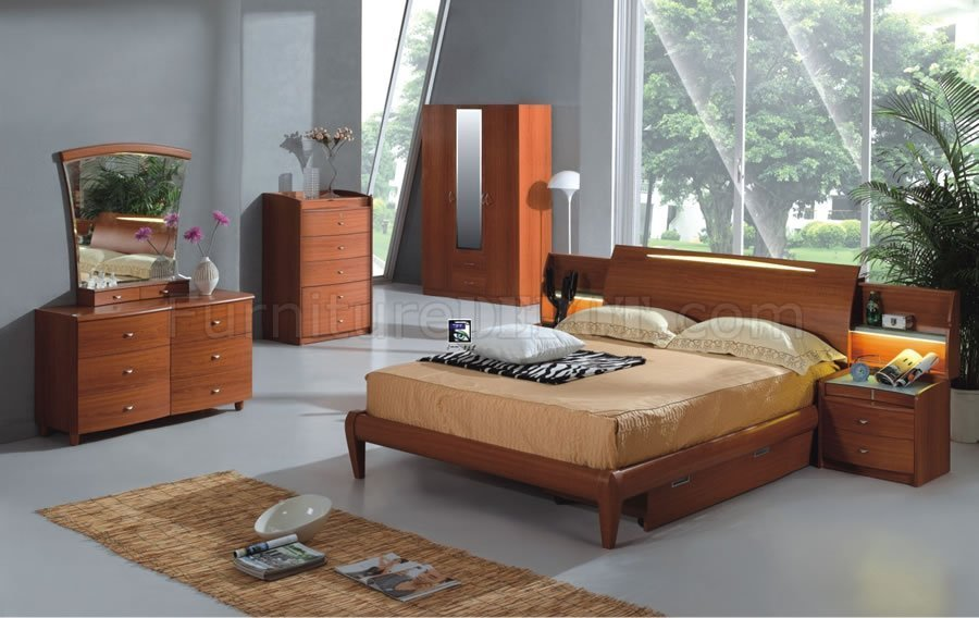 Best Light Cherry Finish Contemporary Bedroom Set With Pictures