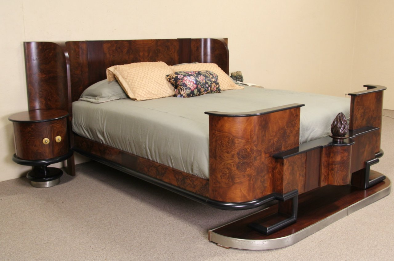Best Sold Italian 1935 Art Deco King Size Bed Nightstands With Pictures