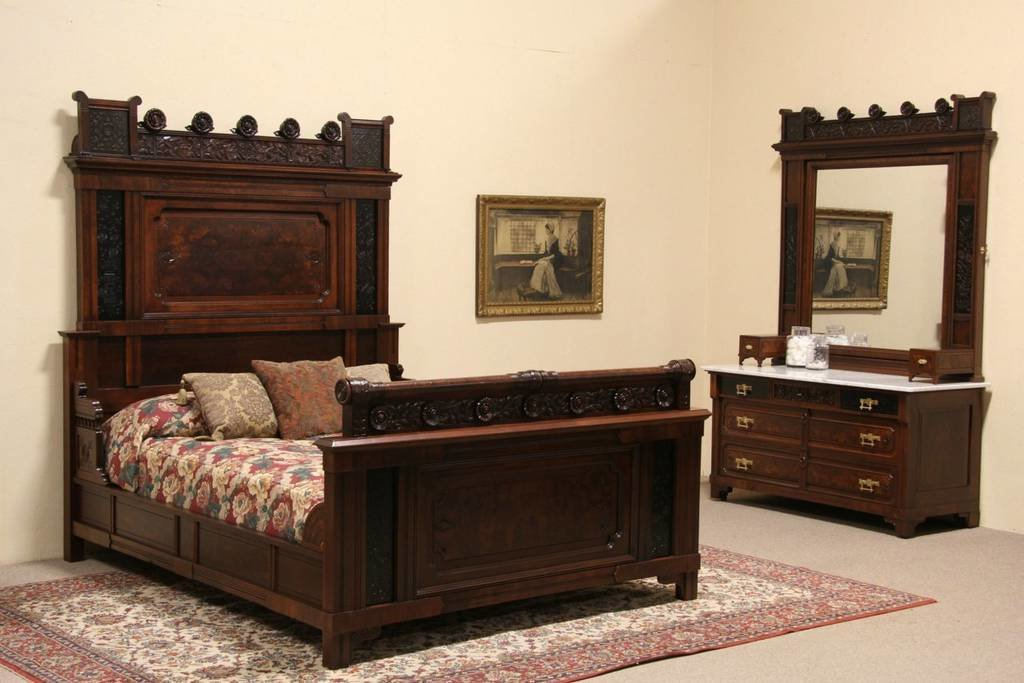 Best Eastlake 1880 Antique 2 Pc Queen Size Bedroom Set Ebony With Pictures