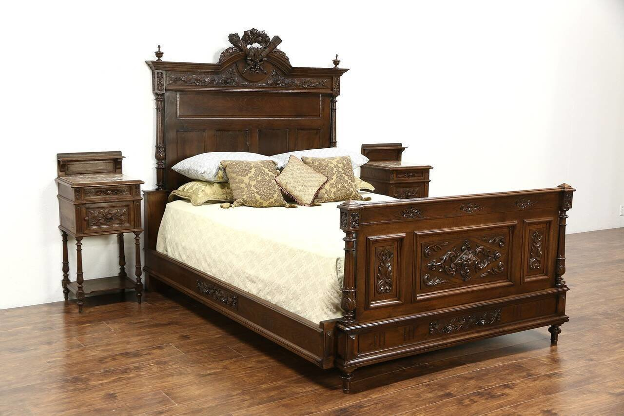 Best French Louis Xvi Antique 1890 Carved Bedroom Set Queen With Pictures