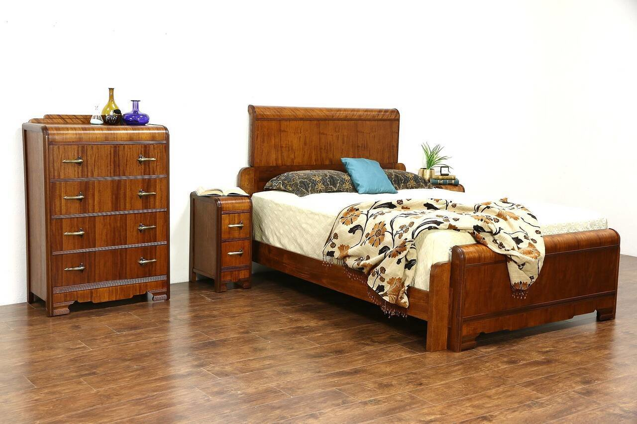 Best Art Deco Waterfall 1930 S Vintage 4 Pc Bedroom Set Queen With Pictures