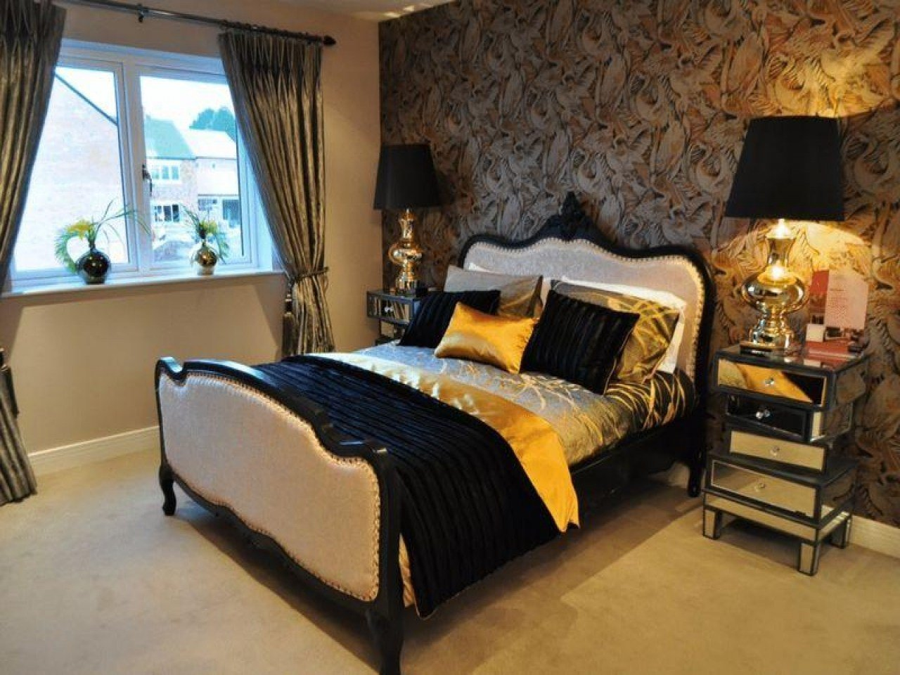 Best Black And Gold Bedroom Ideas Black Brown Gold Orange With Pictures