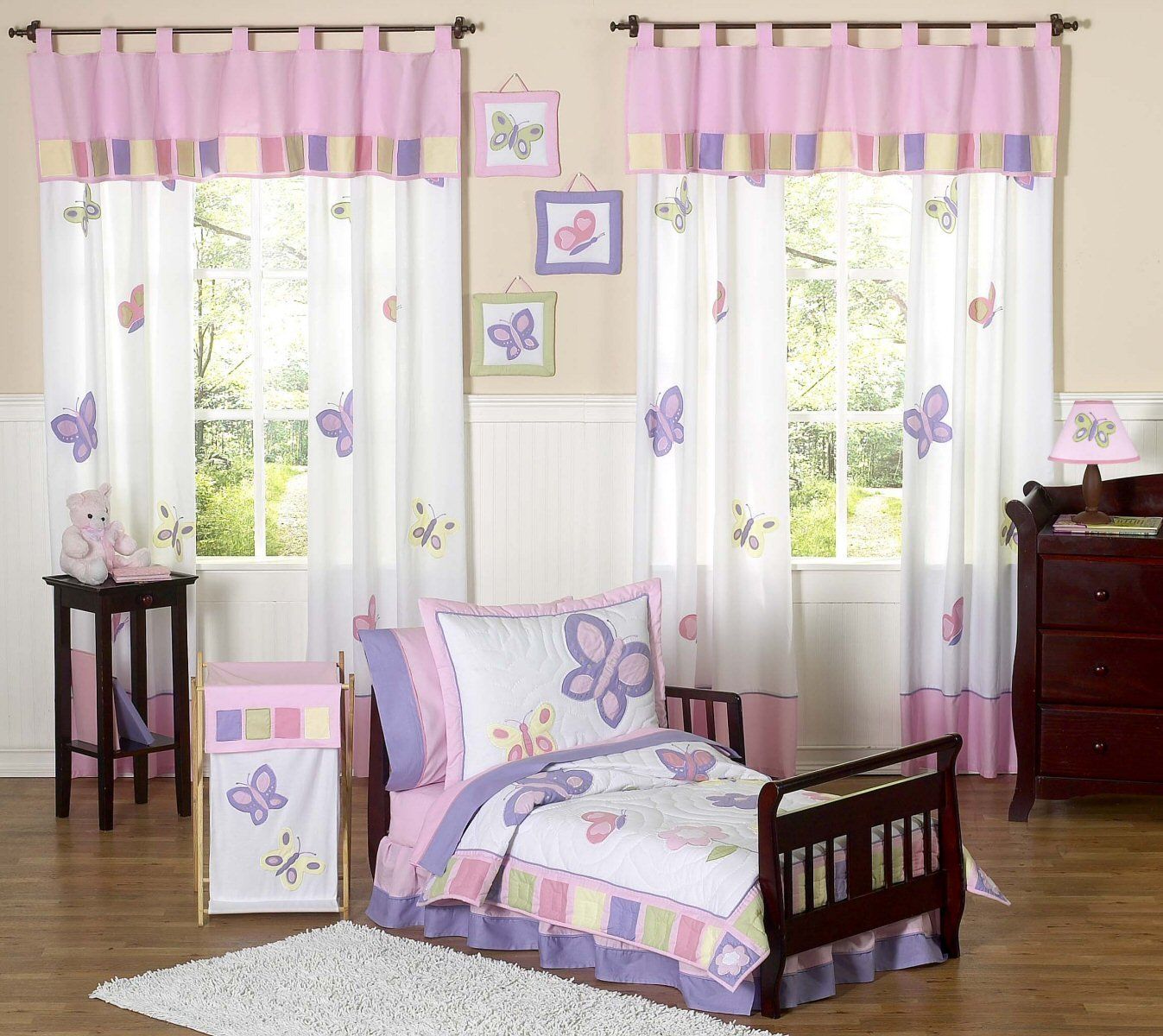 Best Pink Purple Butterfly Toddler Girl Comforter Bedding 5Pc With Pictures