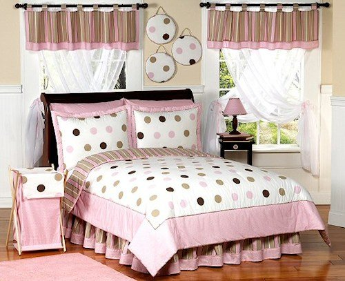 Best Pink Brown Polka Dot Cirlce Bedding Twin Or Full Queen With Pictures