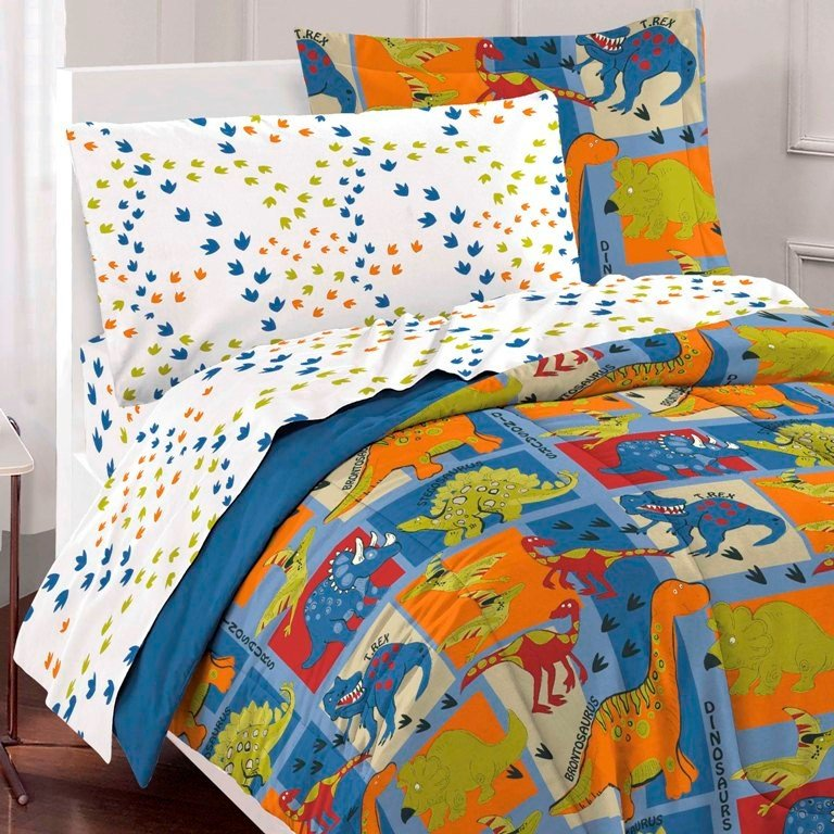 Best Blue Green Dinosaur Block Bedding Twin Or Full Comforter With Pictures